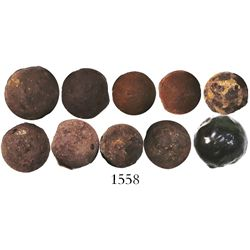Lot of 10 iron grape shot, mid- to late 1700s, from the east coast of Florida.