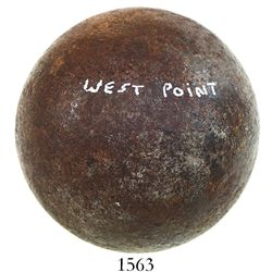 Iron cannonball (6 pounder) from West Point, New York, American Revolutionary War period.