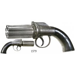 "Belgian ""pepper box"" percussion pistol, early 1800s."