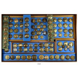 Glass/wood display of 132 Naval buttons, various metals and nations, 1700s to 1900s (Revolutionary W