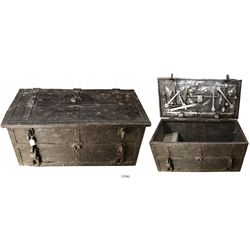 "Iron ""armada"" chest with key, no cover plate, early 1600s."