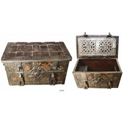 "Iron ""armada"" chest, no keys, with cover plate, late 1600s, painted."