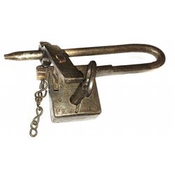 Iron padlock with key, Spanish colonial (late 1600s to early 1700s), found in Lima, Peru.