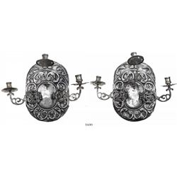 Lot of 2 Spanish-style silver wall sconces, each with 3 candle holders, ornate and intact, probably