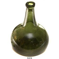 """Dutch green-glass """"onion"""" bottle, ca. 1720s."""
