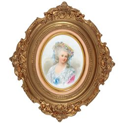 Porcelain plaque, beautiful hand-painted oval portrait of a Victorian woman w/flowers in hat, impres