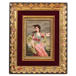Porcelain plaque, KPM hand-painted portrait, signed Wagner, beautiful lady in flowing gown, outdoor