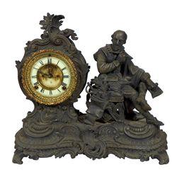 Statue clock, Macbeth writing Hamlet, porcelain dial marked The Ansonia Clock Co.-NY, fancy cast iro