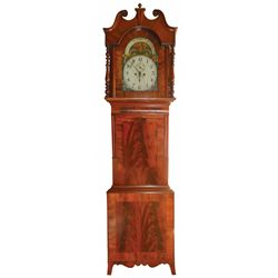 Tall case clock, walnut w/beautiful matched walnut veneer front, rotating phases of the moon & calen