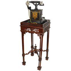 Telephone table w/telephone, Lolland-Falsters Telefon table-model phone w/crank & very unusual walnu