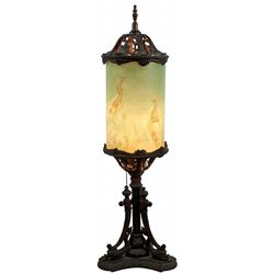 Table lamp, milk glass cylinder w/hand-painted Japanese koi, ornate cast metal base, painted details