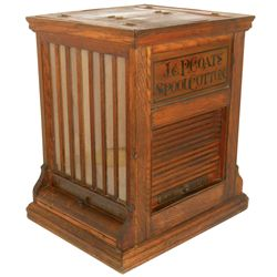 Spool cabinet, J. & P. Coats', oak w/roll up doors & glass windows on sides, c.1910, VG to Exc cond