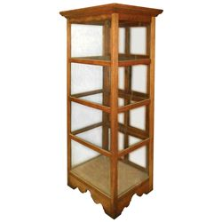 Country store display cabinet, oak w/cut out base, 3 wood & 3 new glass shelves, c.1900, VG/Exc cond