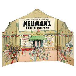 Ice cream circus festoon for Neuman's Ice Cream, colorful 7-pc cdbd window display featuring 3-panel