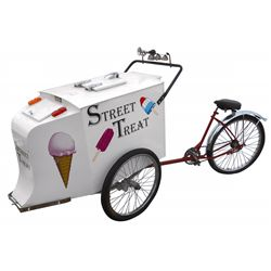"Ice cream vendor bicycle, ""Sweet Treat"", freezer w/tag marked Acorn Sheet Metal Mfg Co.-Chicago, has"