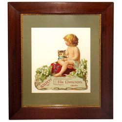 Confectionary sign, Balduff Fine Confections-Omaha, NE, diecut cdbd counter display w/easel back, ad