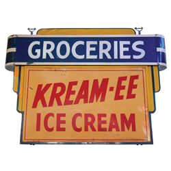 """Ice Cream sign, """"Kream-ee Ice Cream-Groceries"""" 2-sided enamel on metal hanging sign mfgd by Mulholla"""