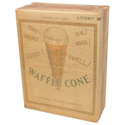 Soda fountain ice cream cones, National Biscuit Co. new old stock unopened box of 100 waffle cones,
