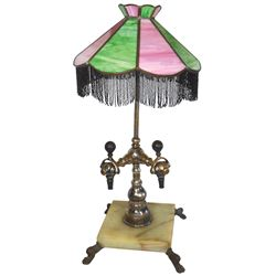 Soda fountain 2-spigot tapper w/light, marble base w/cast iron paw feet, pink & green stained glass