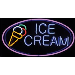 """Soda fountain """"Ice Cream"""" 6-color neon sign, NOS in Exc cond, backed w/Lucite, 20""""H x 37""""W."""