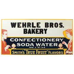 Soda fountain & bakery sign, Wehrle Bros. Bakery & Confectionery, embossed metal w/ice cream graphic