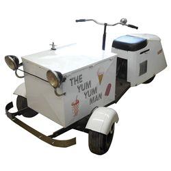 "Ice cream Cushman Package Car, ""The Yum Yum Man"", c.1947 w/ice cream turtle back cart, orig title in"