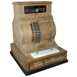Cash register, The Hallwood, Very Rare, high-quality scroll-design cast brass w/white marble shelf,