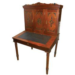 Furniture, Eastlake slant top desk, walnut w/black inlay, c.1900, maker's tag on front from Pettibon