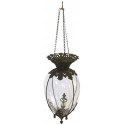 Drug store apothecary hanging show globe, teardrop-shaped glass in fancy cast iron frame w/gold wash