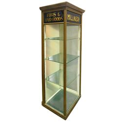 """Millinery display case, copper over wood w/reverse paint on glass panels for """"Millinery, Furs & Hair"""