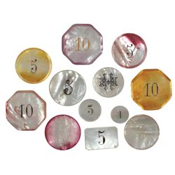 Gambling chips (12), mother-of-pearl in assorted styles, sizes & colors, all w/identifying values, E