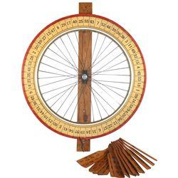 Gambling wheel, large wood & metal spoked numbered wheel w/15 numbered wood paddles, c.1940's, Exc c