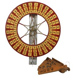 Gambling wheel, numbered wood wheel w/cast iron star-shaped center, numbered on both front & back, 1