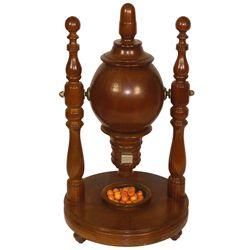 "Gambling, Keno Goose w/numbered Bakelite balls, oak w/turned finials, Exc cond, 22""H x 12.5""Dia."