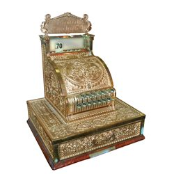 National Cash Register, Model 325, brass w/replacement Amount Purchased marquee, originally sold by