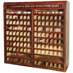 Spool cabinet, M. Heminway & Sons Art Needlework Silks w/ruby glass header, 20 drwrs, VG/Exc cond, 3