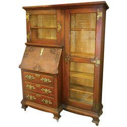 Furniture, drop-front secretary w/bookshelf side cabinet, oak w/large brass hdwr, heavy applied mold