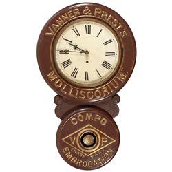 """New Haven """"Baird"""" advertising clock, Vanner & Prest's """"Molliscorium.Compo. Embrocation"""", metal over"""