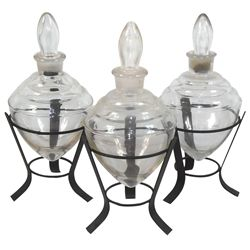 """Apothecary show jars w/stoppers in metal stands, counter style, Exc cond, ea 9""""H."""