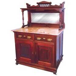 Furniture, Eastlake mahogany sideboard buffet server, top section has crown w/turned spindles, mirro