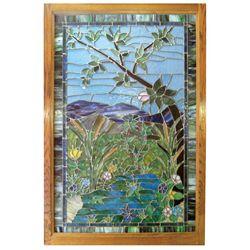 Stained glass window, elaborate water scene w/multi-colored cattails & foliage, beautiful design w/w