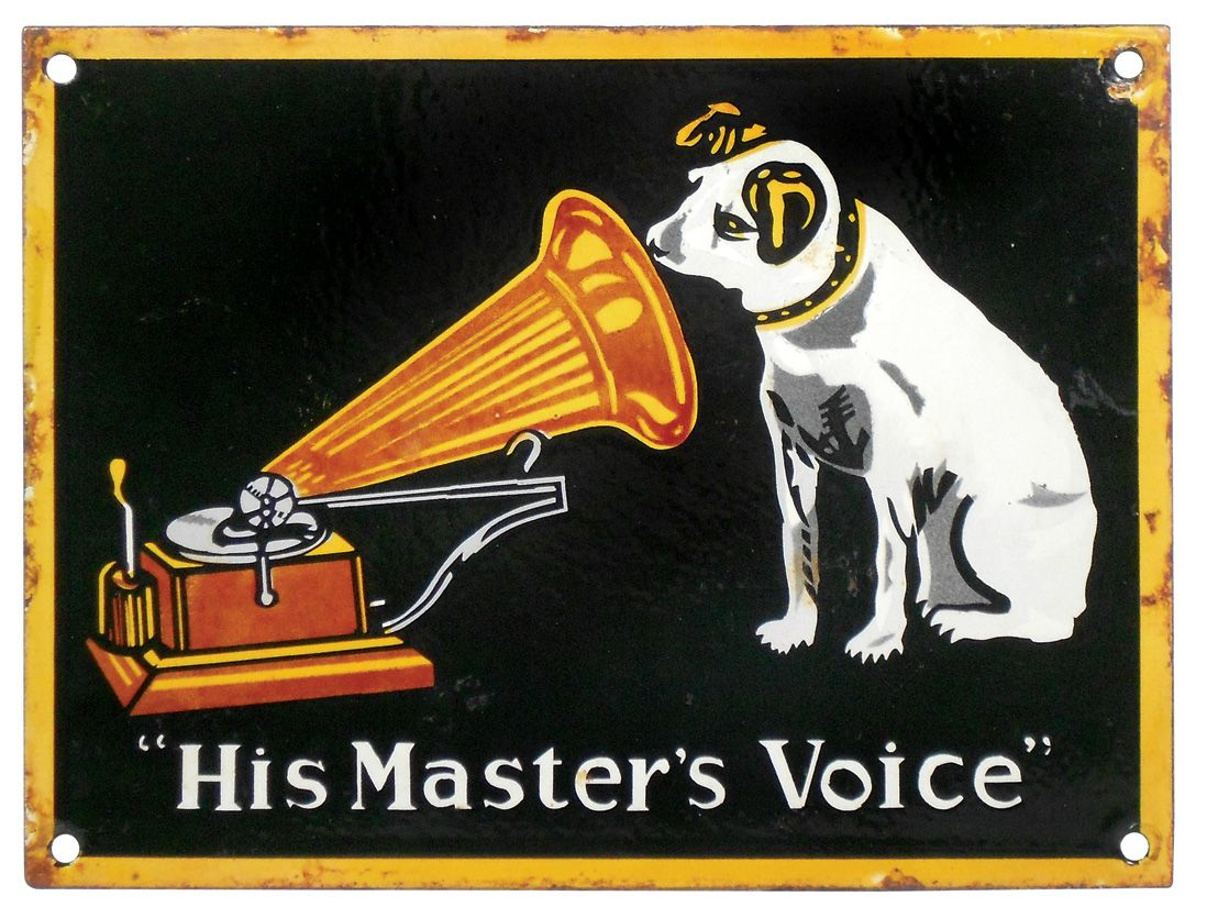 Advertising sign, porcelain RCA Victor His Master's Voice w/Nipper &  Victrola graphics, VG+ cond w/m