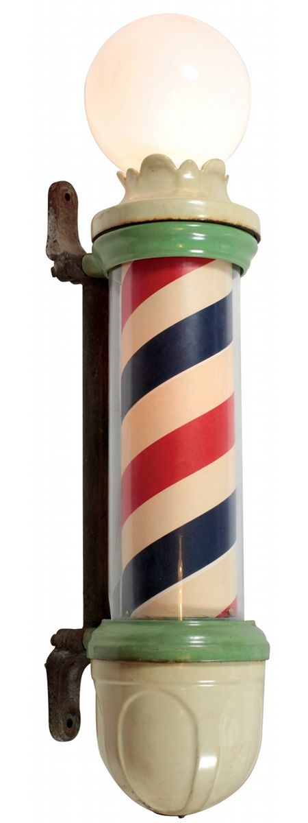 Barber pole, Paidar, early 1900's model w/hand crank mechanism, green &  cream porcelain, glass cylin