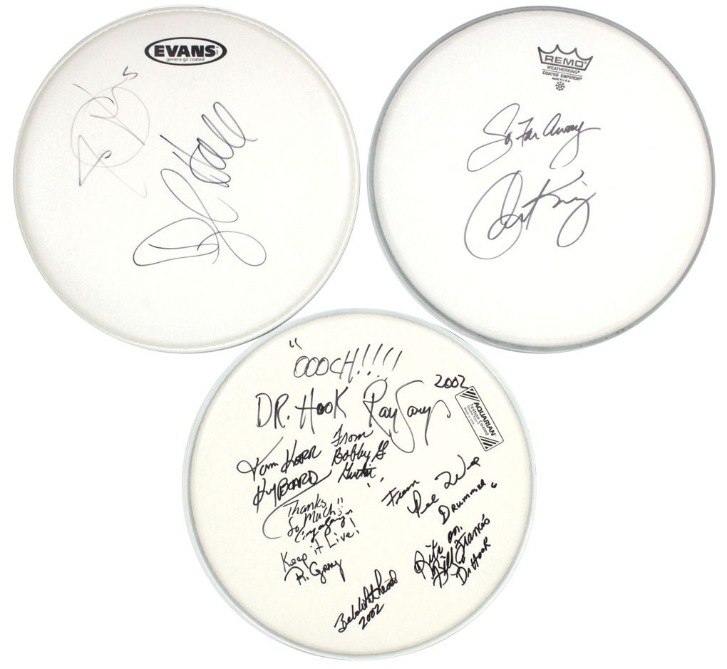 Autographed drum heads (3), Hall & Oates, Dr. Hook w/Ray