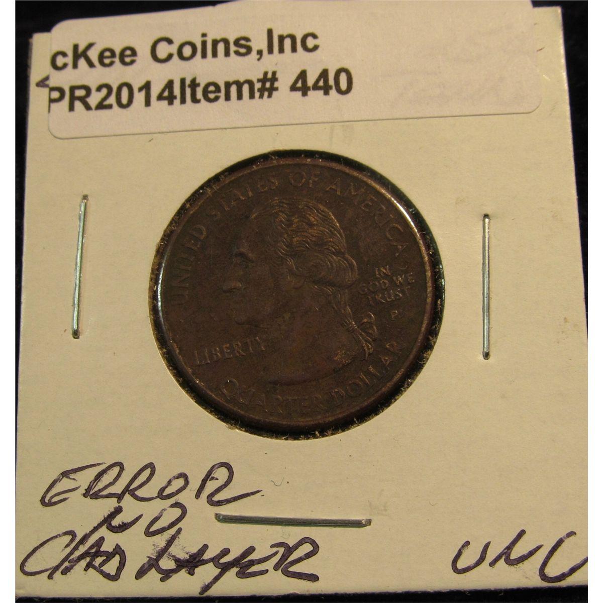 440  2002 Tennessee Statehood Quarter  Mint error missing Clad layer  BU