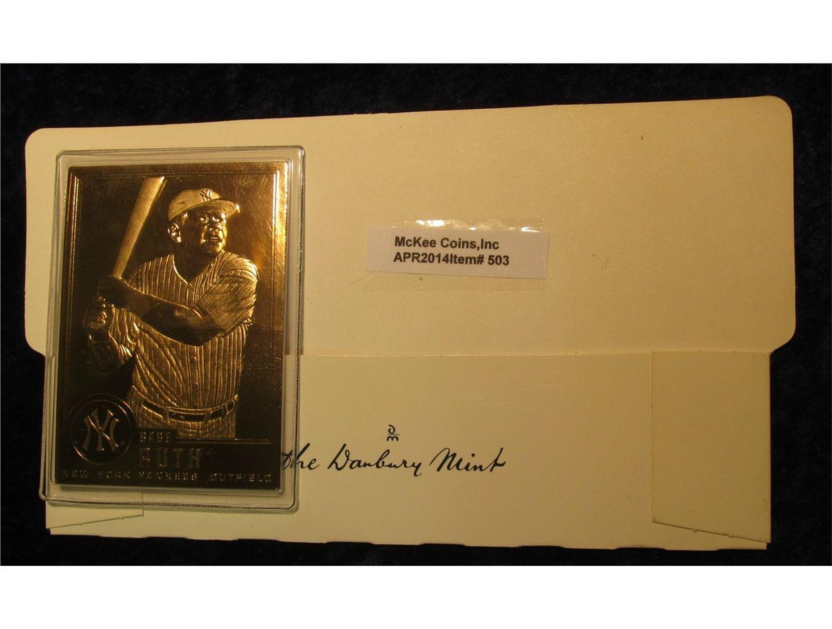 503 1996 24k Gold Plated Babe Ruth Baseball Card In Danbury Mint Holder Crisp Gem Unc