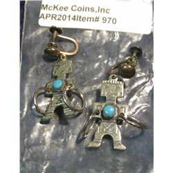 970.       Matched pair of silver and turquoise screw-back style ear rings, Native American with a h