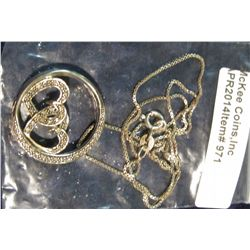 971.       Hoop charm with co-joined hearts on a box chain
