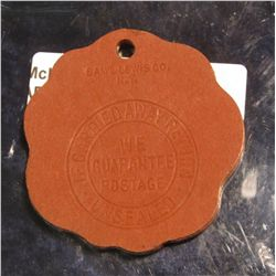 975.       Stamped / die cut leather keychain fob for Robert E. Lee Hotel, Winston-Salem, NC – room