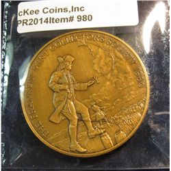 980.       Large bronze 1980 Franklin Mint Collector's Society medal depicting Ben Franklin flying a